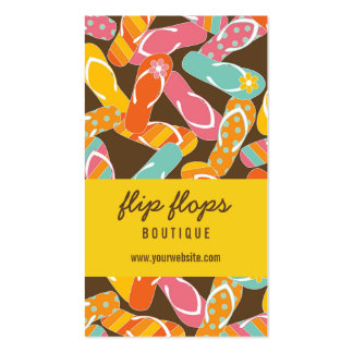 Summer Colorful Fun Beach Flip Flops Profile Card Business Cards