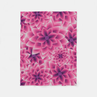 Summer colorful pattern purple dahlia fleece blanket