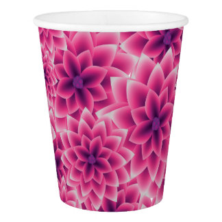 Summer colorful pattern purple dahlia paper cup
