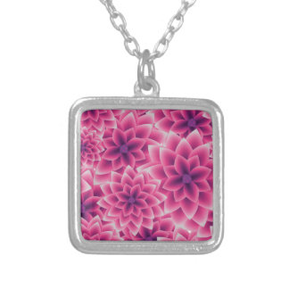 Summer colorful pattern purple dahlia silver plated necklace