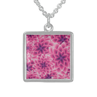 Summer colorful pattern purple dahlia sterling silver necklace