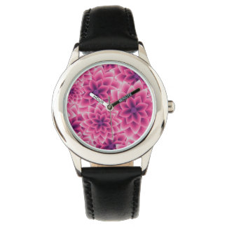 Summer colorful pattern purple dahlia wrist watch