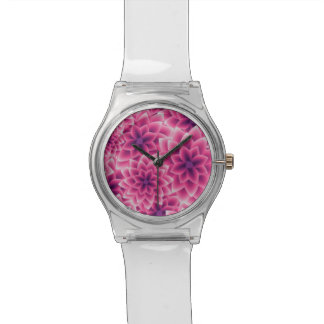 Summer colorful pattern purple dahlia wristwatch