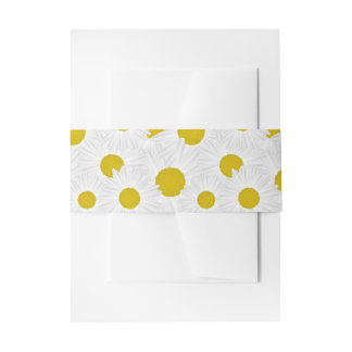 Summer colorful pattern purple marguerite invitation belly band