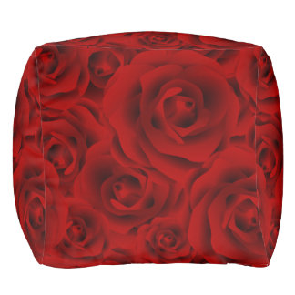 Summer colorful pattern rose pouf