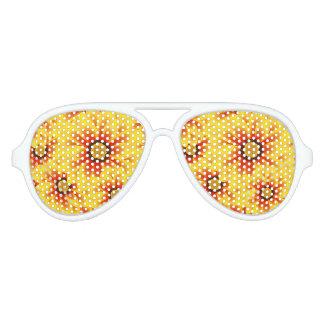 Summer colorful pattern yellow tickseed aviator sunglasses