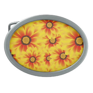 Summer colorful pattern yellow tickseed belt buckles