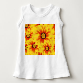 Summer colorful pattern yellow tickseed dress