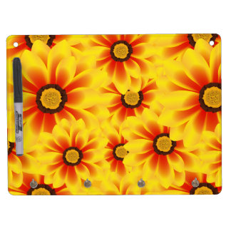 Summer colorful pattern yellow tickseed dry erase board with key ring holder