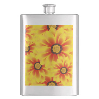 Summer colorful pattern yellow tickseed hip flask
