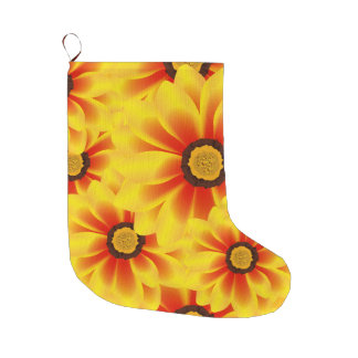 Summer colorful pattern yellow tickseed large christmas stocking