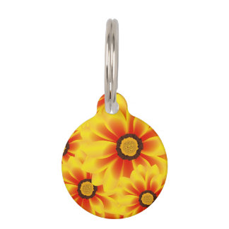 Summer colorful pattern yellow tickseed pet ID tag