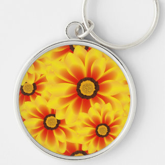 Summer colorful pattern yellow tickseed Silver-Colored round key ring