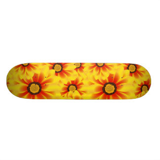Summer colorful pattern yellow tickseed skateboard deck