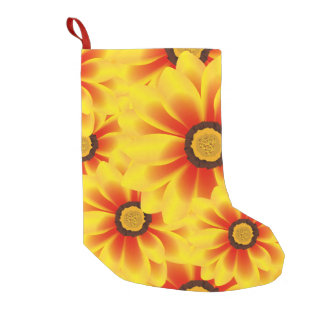 Summer colorful pattern yellow tickseed small christmas stocking