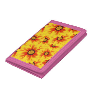 Summer colorful pattern yellow tickseed trifold wallets