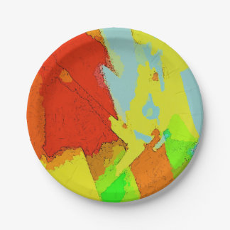Summer Colors Abstract Landscape Pattern Paper Plate