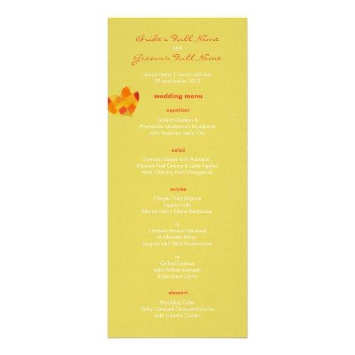 Summer confetti Wedding Menu Custom Invites