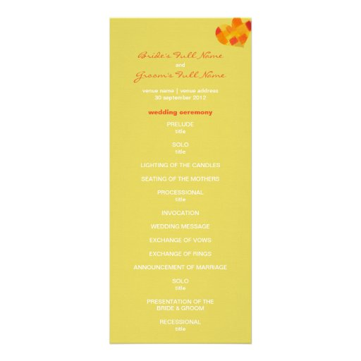 Summer confetti Wedding Program Announcement