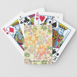 Summer Cottage Flowers Pattern Poker Cards