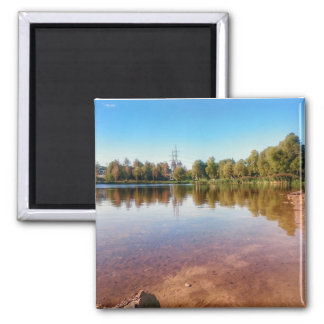 Summer Countryside Landscape Square Magnet