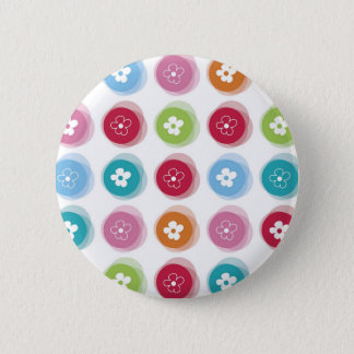 Summer Cute Daisy Flower Fuzzy Dots Colorful Fun 6 Cm Round Badge
