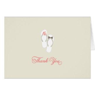 Summer Daisies Flip Flops Beach Wedding Thank You Note Card