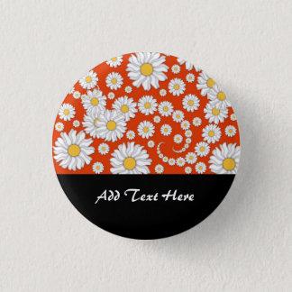 Summer Daisies on Bright Orange 3 Cm Round Badge