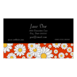 Summer Daisies on Bright Orange Business Card Templates
