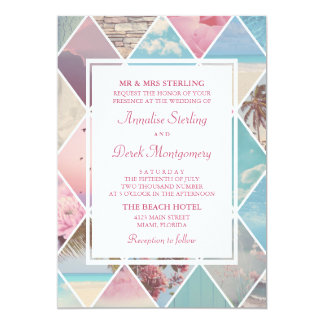 Summer Diamonds | Pink & Blue Beach Wedding 13 Cm X 18 Cm Invitation Card