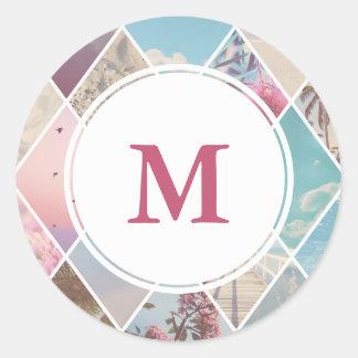 Summer Diamonds | Pink Wedding Monogram Classic Round Sticker