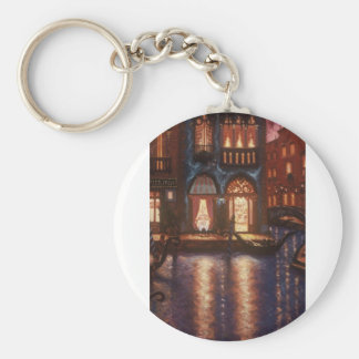 Summer Evening in Venice Basic Round Button Key Ring
