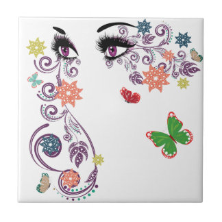 Summer Eyes with Floral 4 Small Square Tile