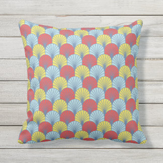 Summer Fans Scallop Pattern Throw Pillow