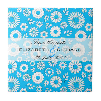 "Summer floral blue ""Save the date"" Tile"