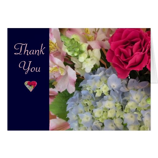 Summer Floral Bouquet Thank You Card