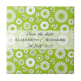 """Summer floral green """"Save the date"""" Tile"""