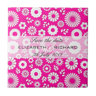 "Summer floral pink ""Save the date"" Tile"