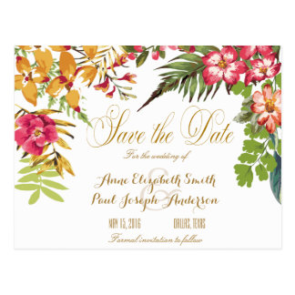 Summer floral Save the Date Postcard