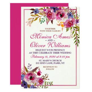 Summer Floral Watercolor Modern Wedding Invitation