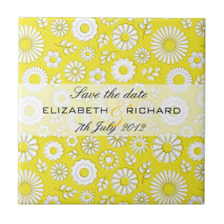 """Summer floral yellow """"Save the date"""" Tile"""