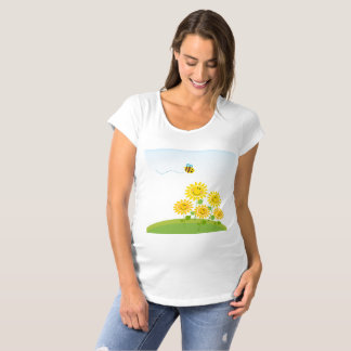 Summer Flower and Bee Maternity T-Shirt