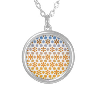 Summer Flower Field Pattern Silver Plated Necklace