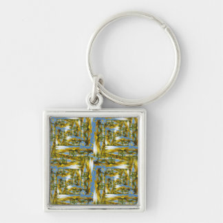 Summer Flower Patchwork Keyring Silver-Colored Square Key Ring