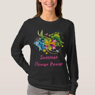 Summer Flower Power Black Long Sleeve T-Shirt