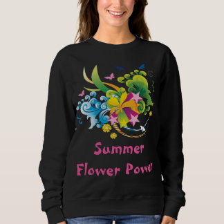 Summer Flower Power Black Sweatshirt