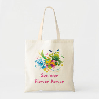 Summer Flower Power Budget Tote Bag