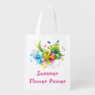 Summer Flower Power Reusable Grocery Bag