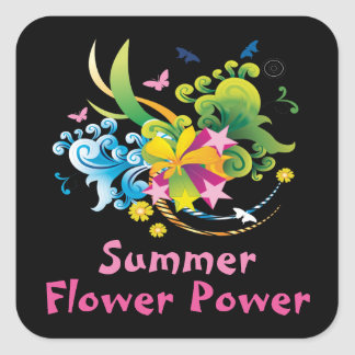 Summer Flower Power Square Stickers