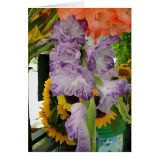 Summer flowers at farm stand greeting card
